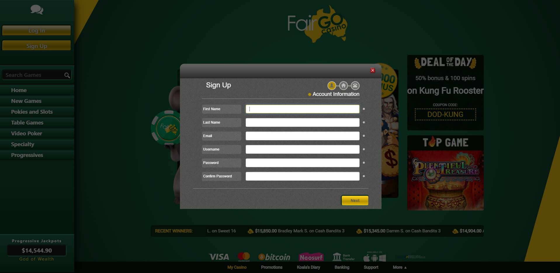Fair Go Casino Sing Up Screenshot