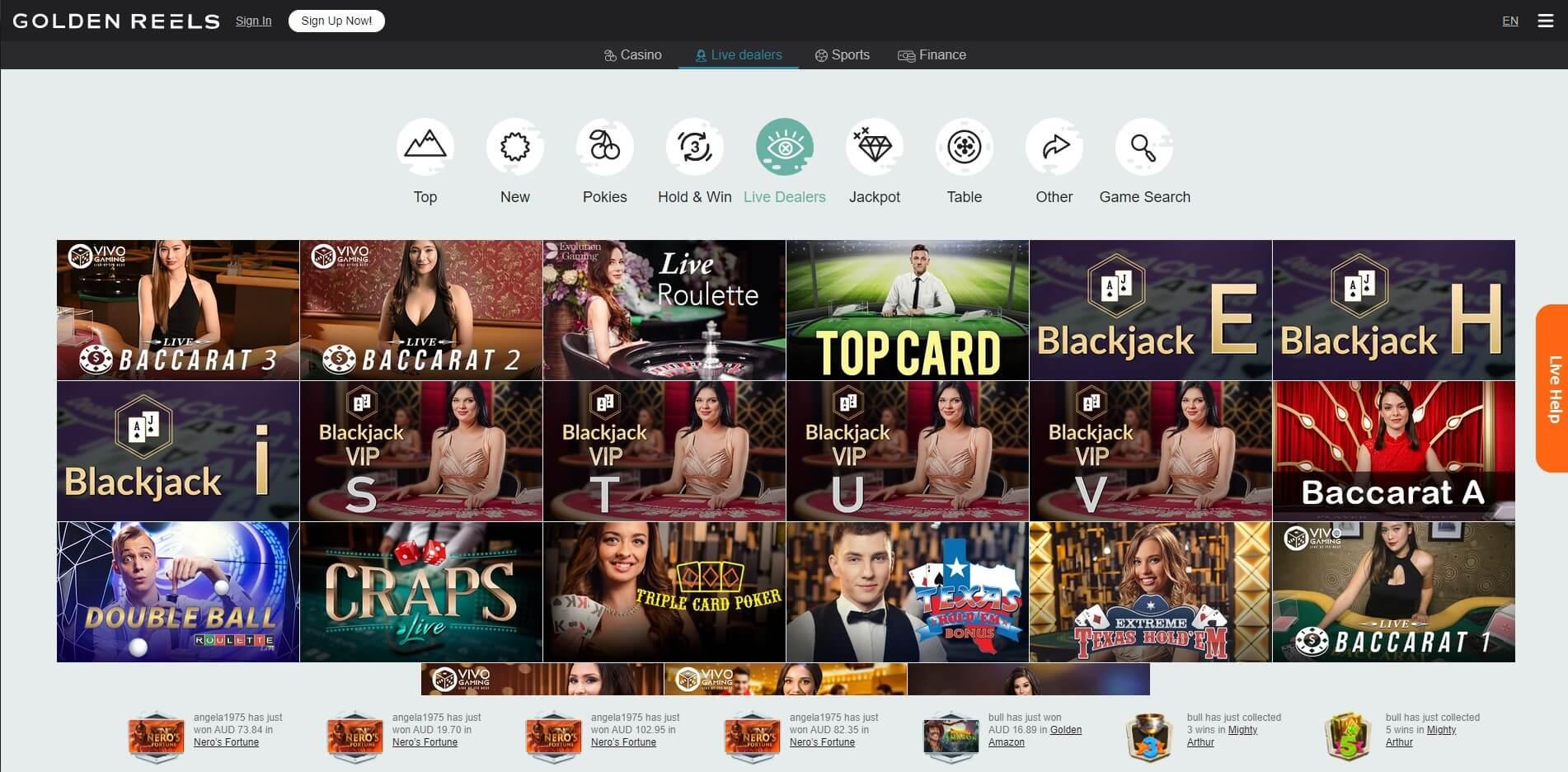 Golden Reels Casino Live Games Screenshot