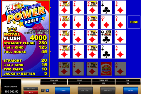 jacks or better 4 play power poker microgaming
