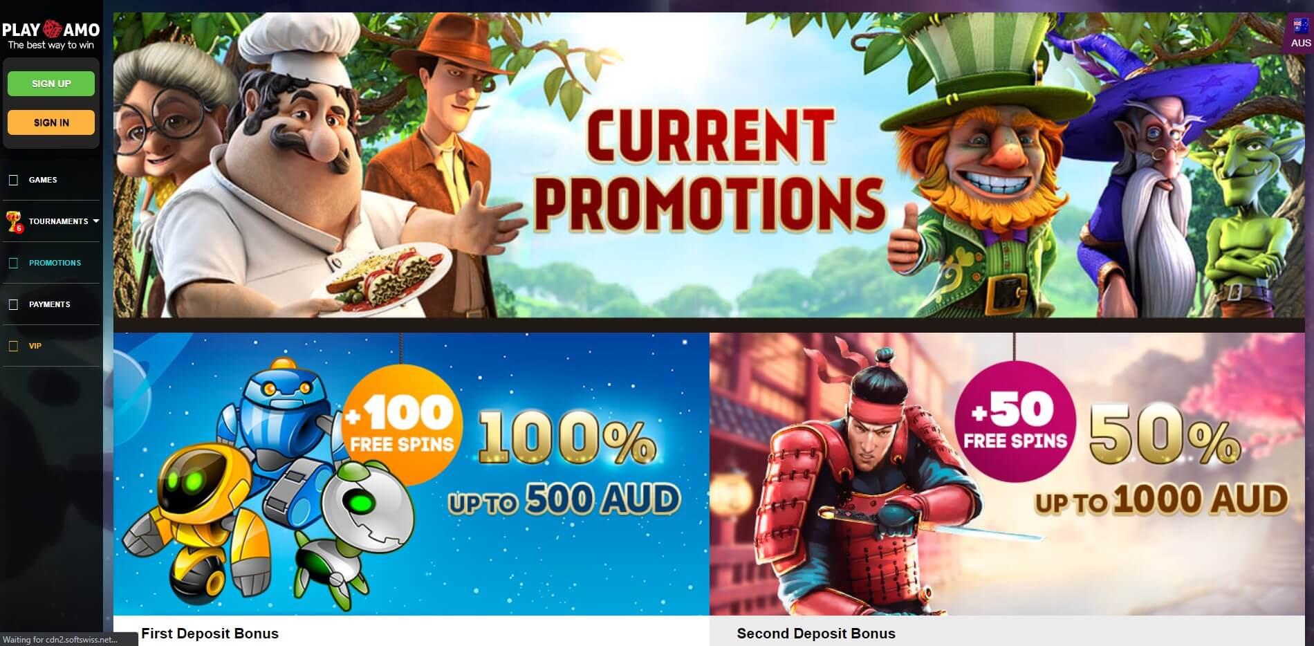 Playamo Casino Bonuses Screenshot