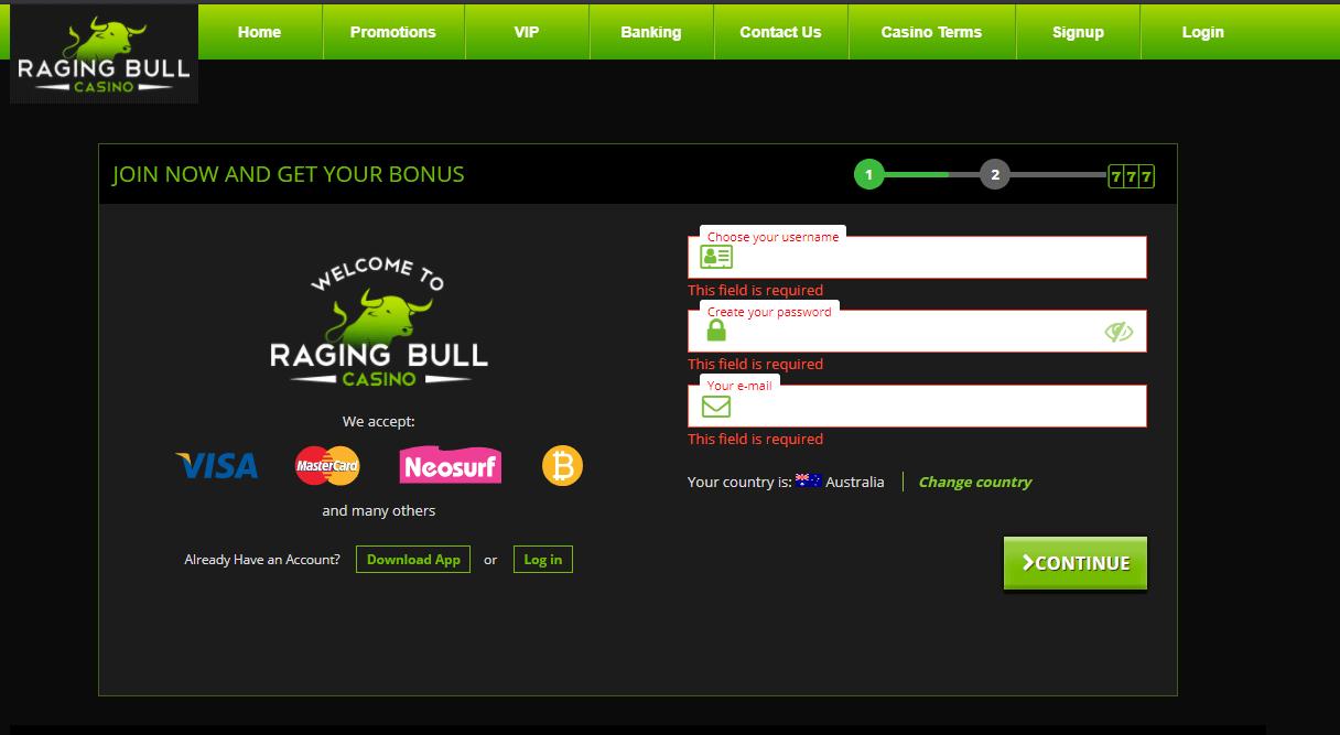 Raging Bull Casino Sing Up
