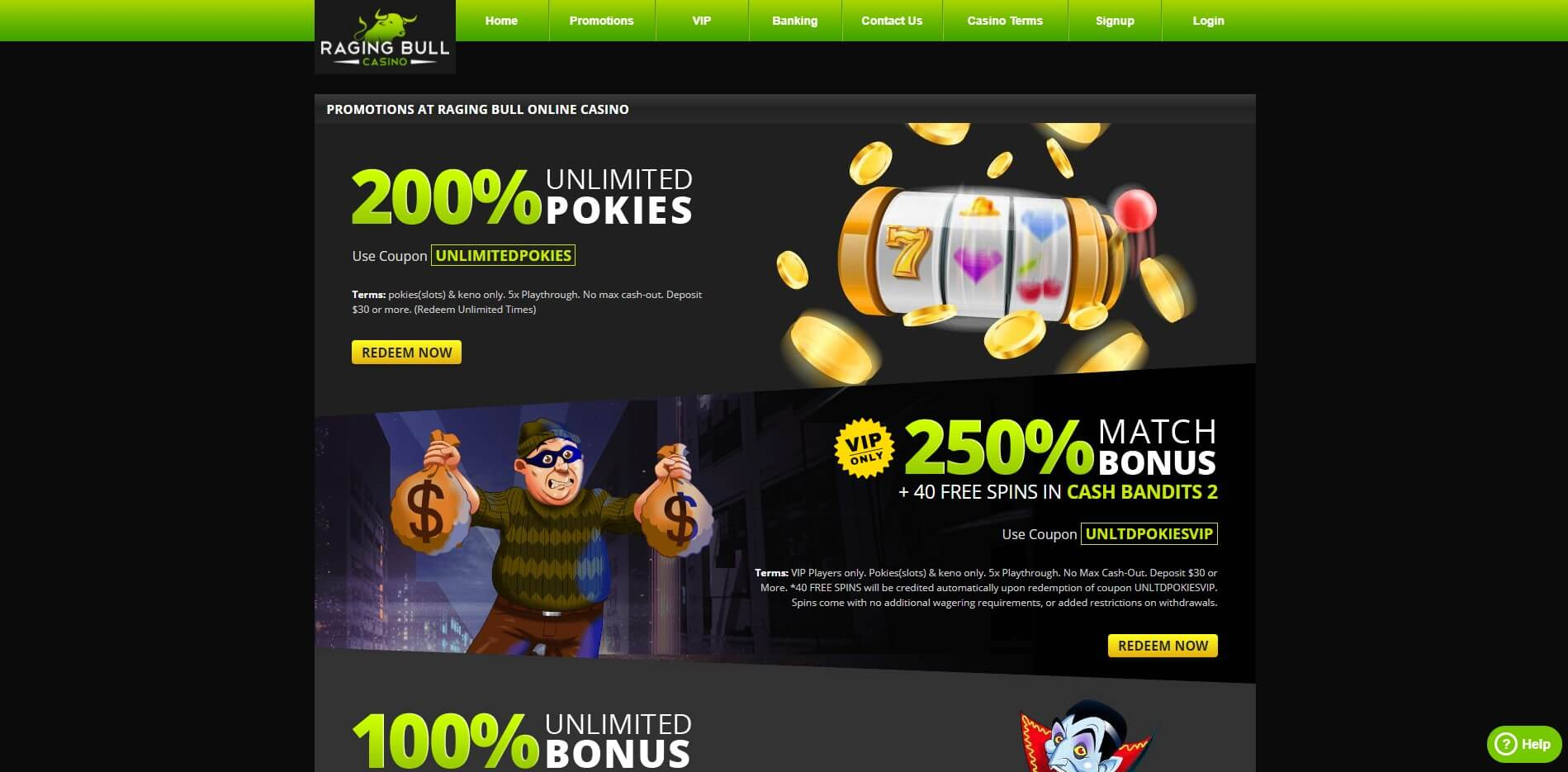 Raging Bull Casino Bonuses Screenshot