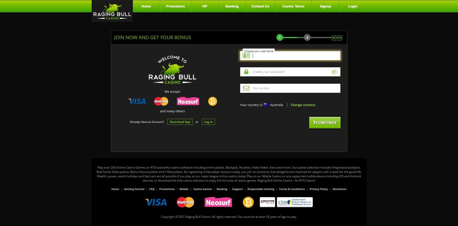 Raging Bull Casino Sing Up Screenshot