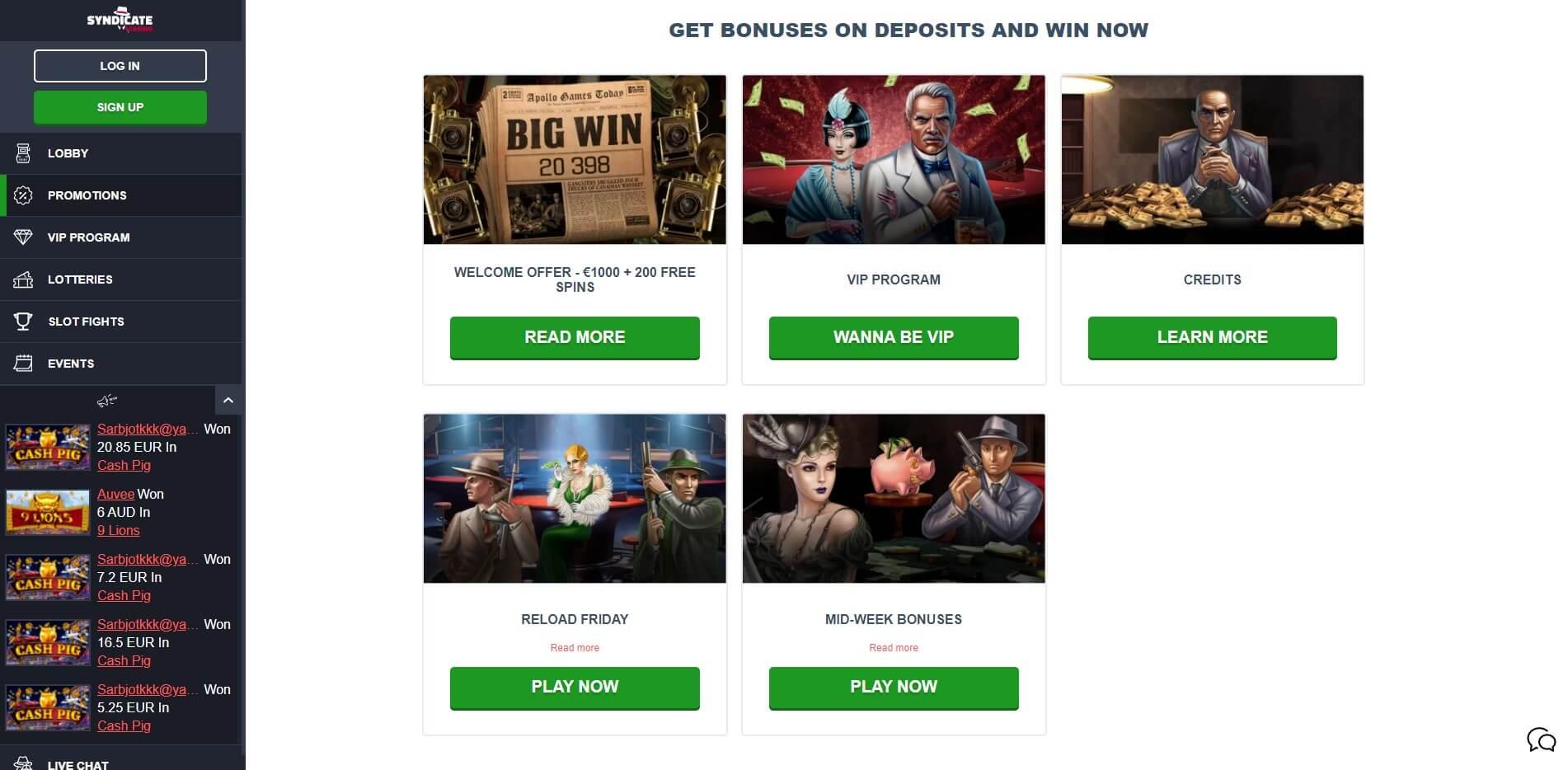 Syndicate Casino Bonuses Screenshot