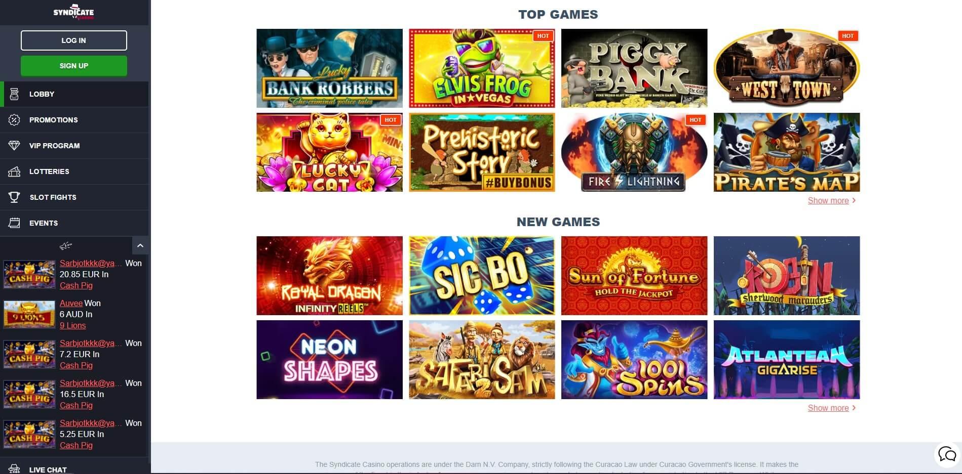 Syndicate Casino Games Screenshot
