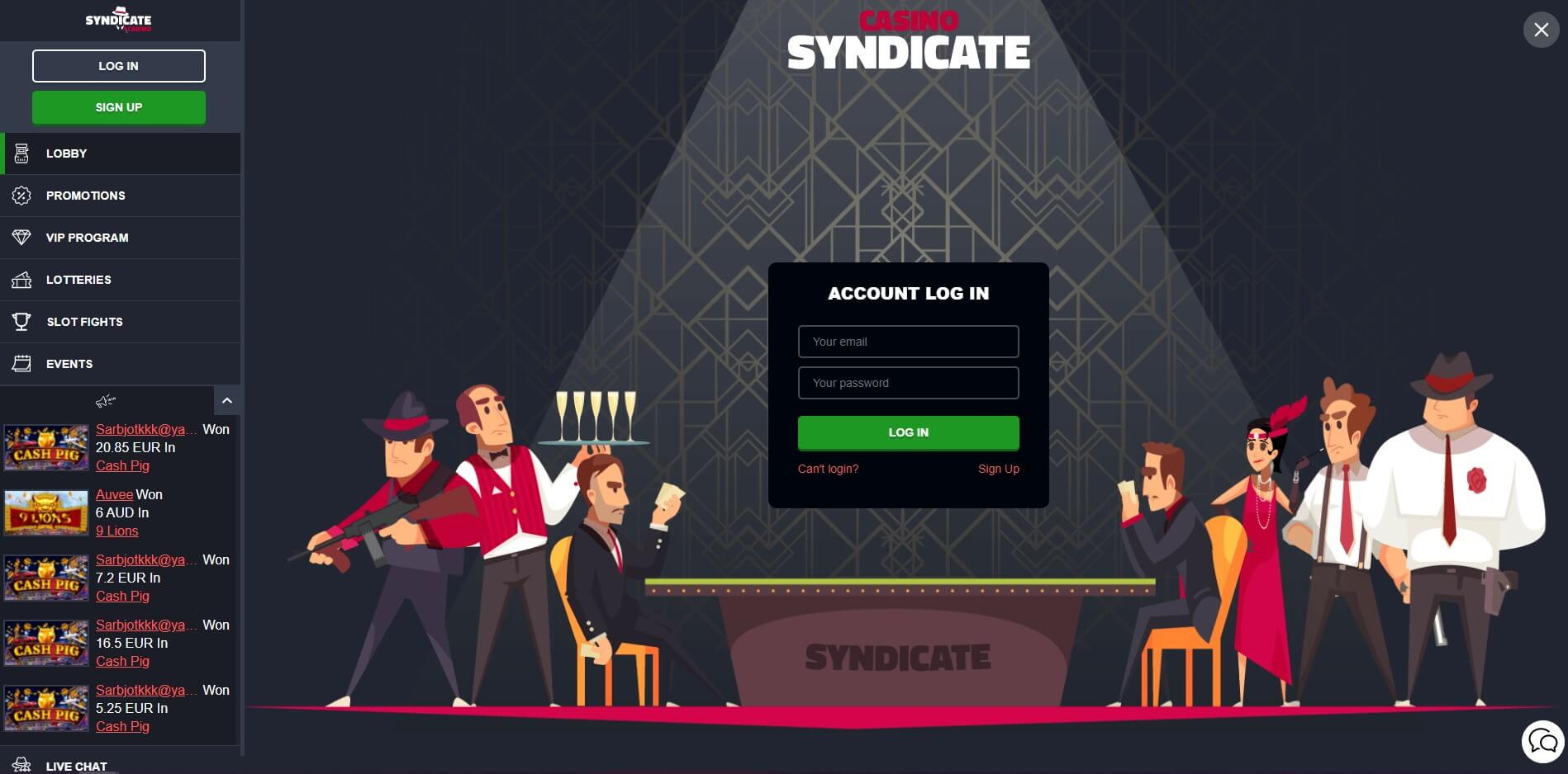 Syndicate Casino Login Screenshot
