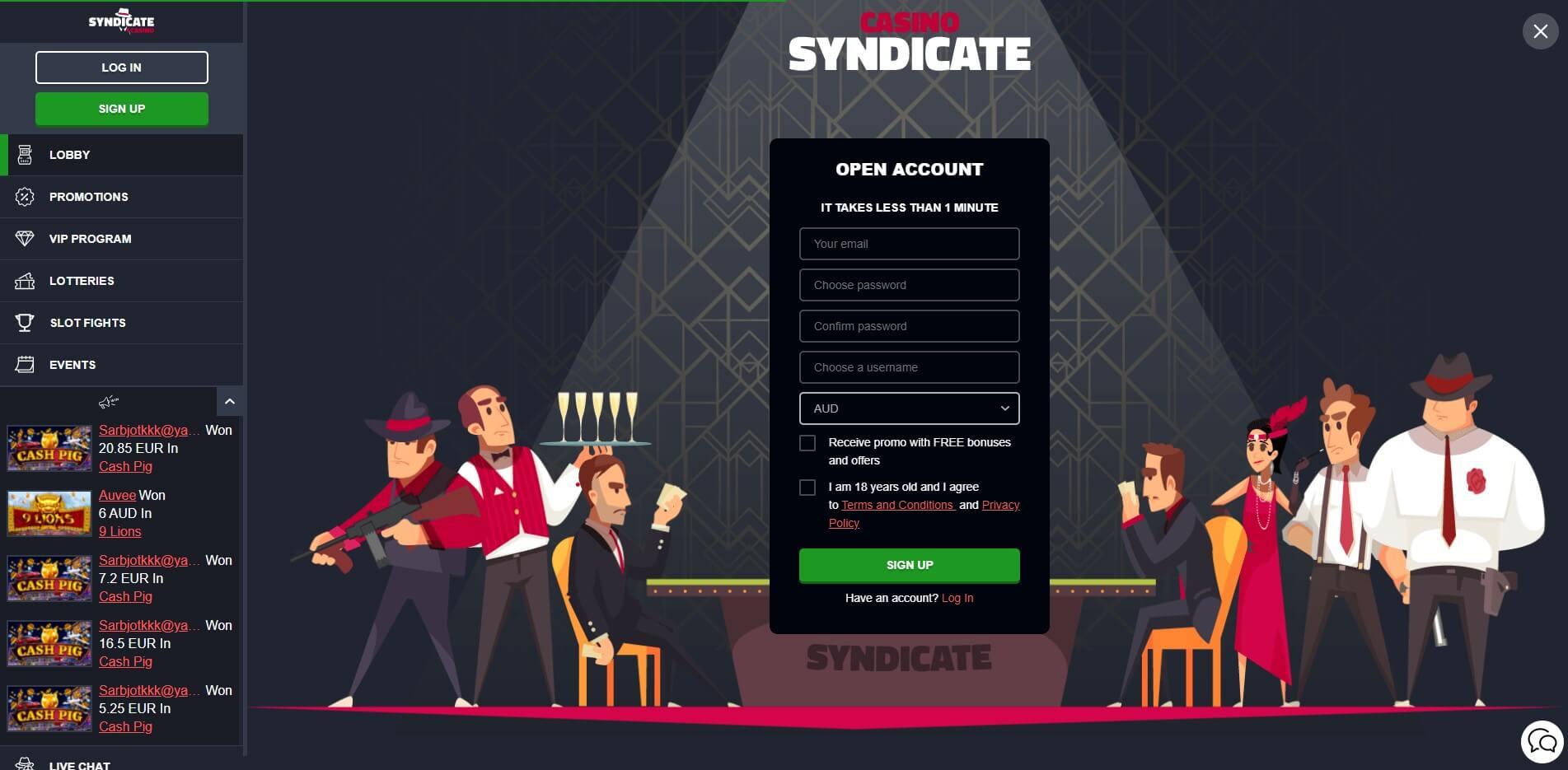 Syndicate Casino Sign Up Screenshot
