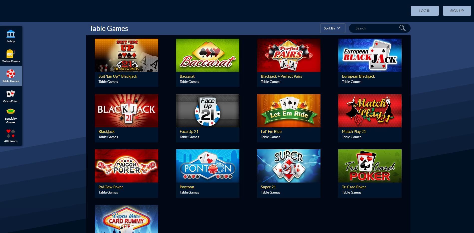 True Blue Casino Games Screenshot