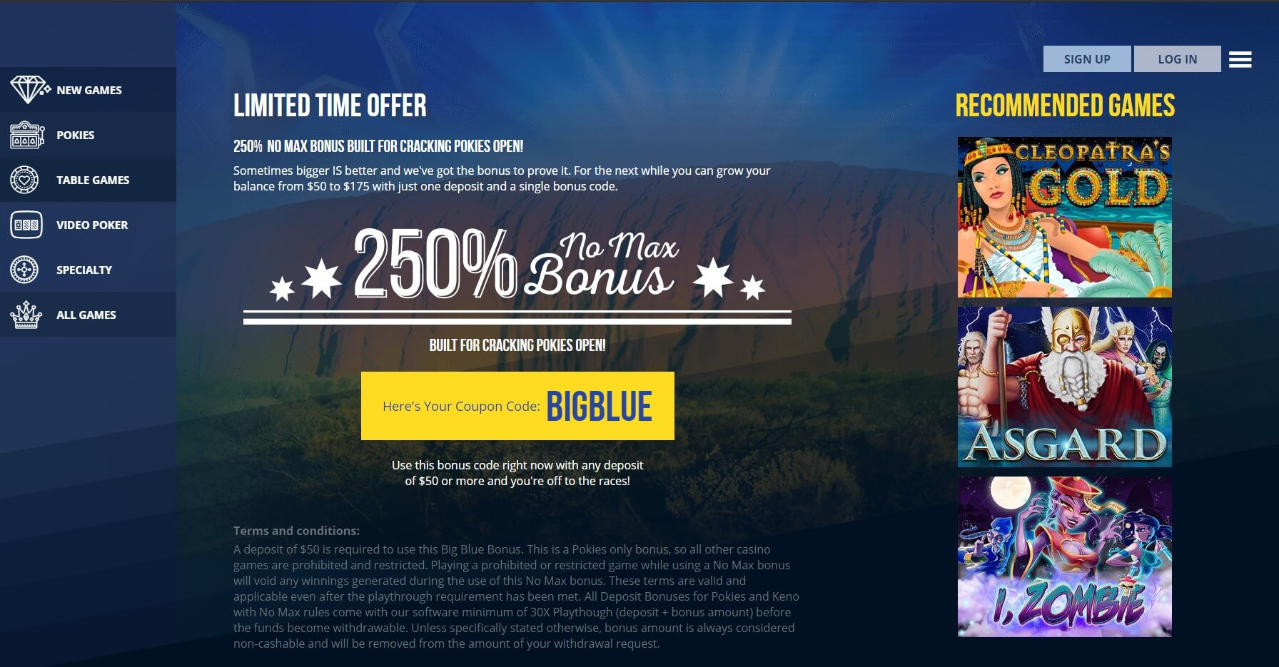 True Blue Limited Time Offer Screenshot