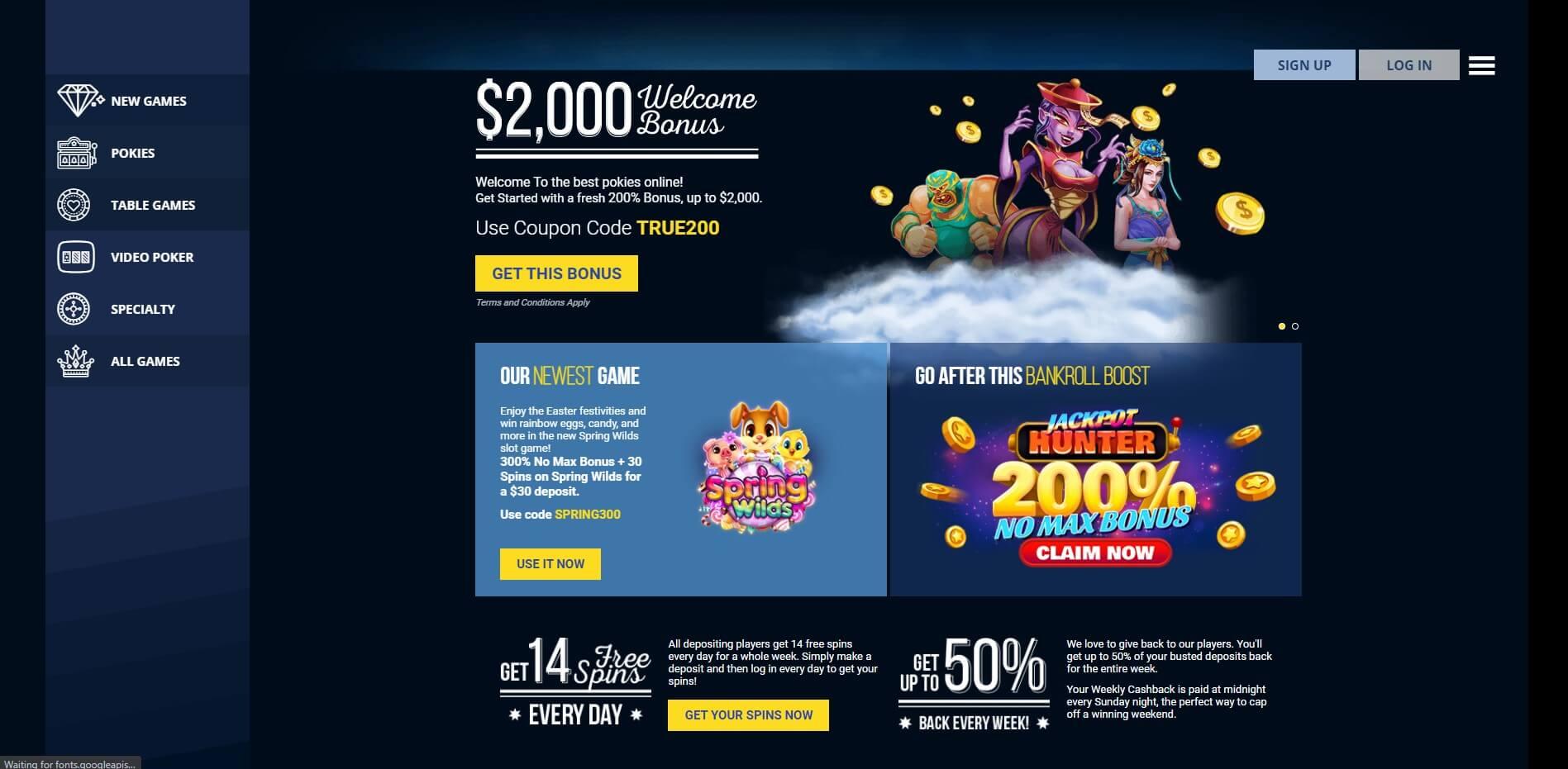True Blue Casino Promotions Screenshot