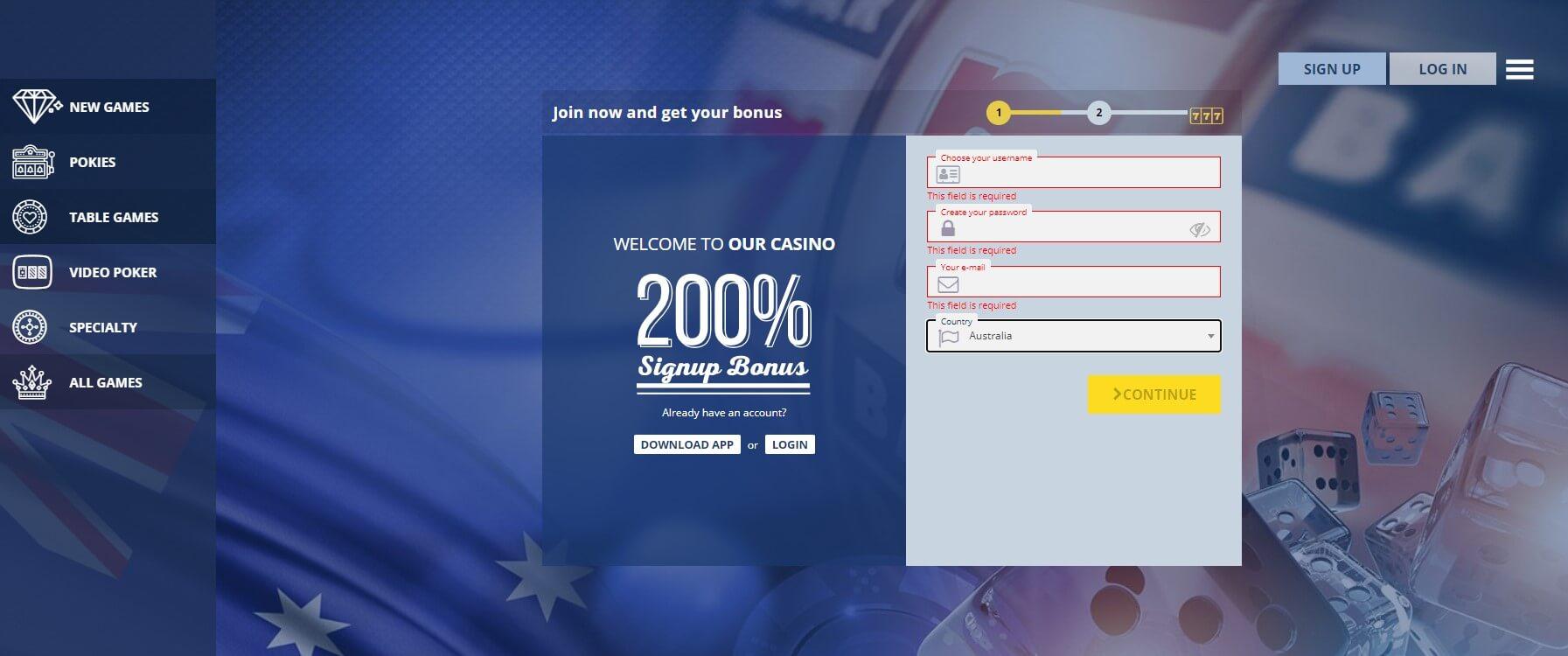 True Blue Casino Registration Screenshot